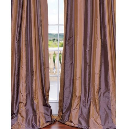 Signature Stripe Tan Brown Faux Silk Taffeta 96 Inch
