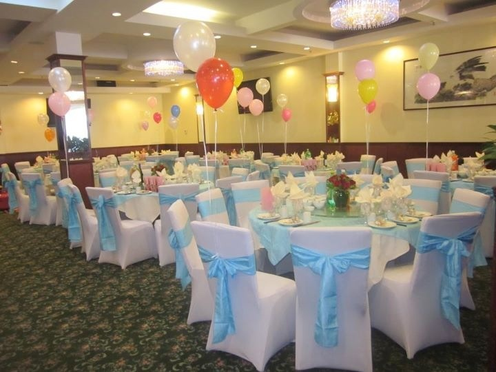 perfect for a baby shower white spandex chair covers with light blue
