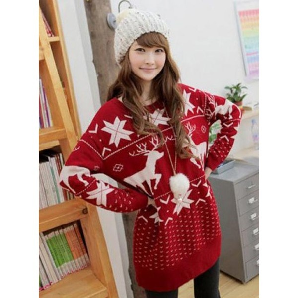 Christmas Red Deer Round Neck Sweater$48.00 ($48) liked on ...