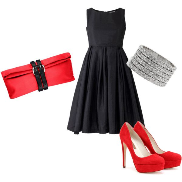 Black Cocktail Dress And Red Shoes 120