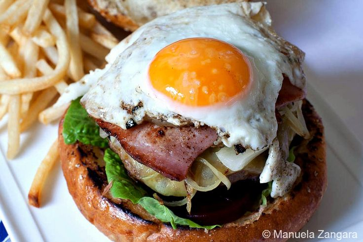 """Aussie Burger with """"The Lot"""" ~filled with lettuce, tomato, beef pat..."""