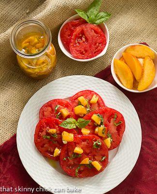 Tomato Salad with Peach and Basil Vinaigrette | Recipe