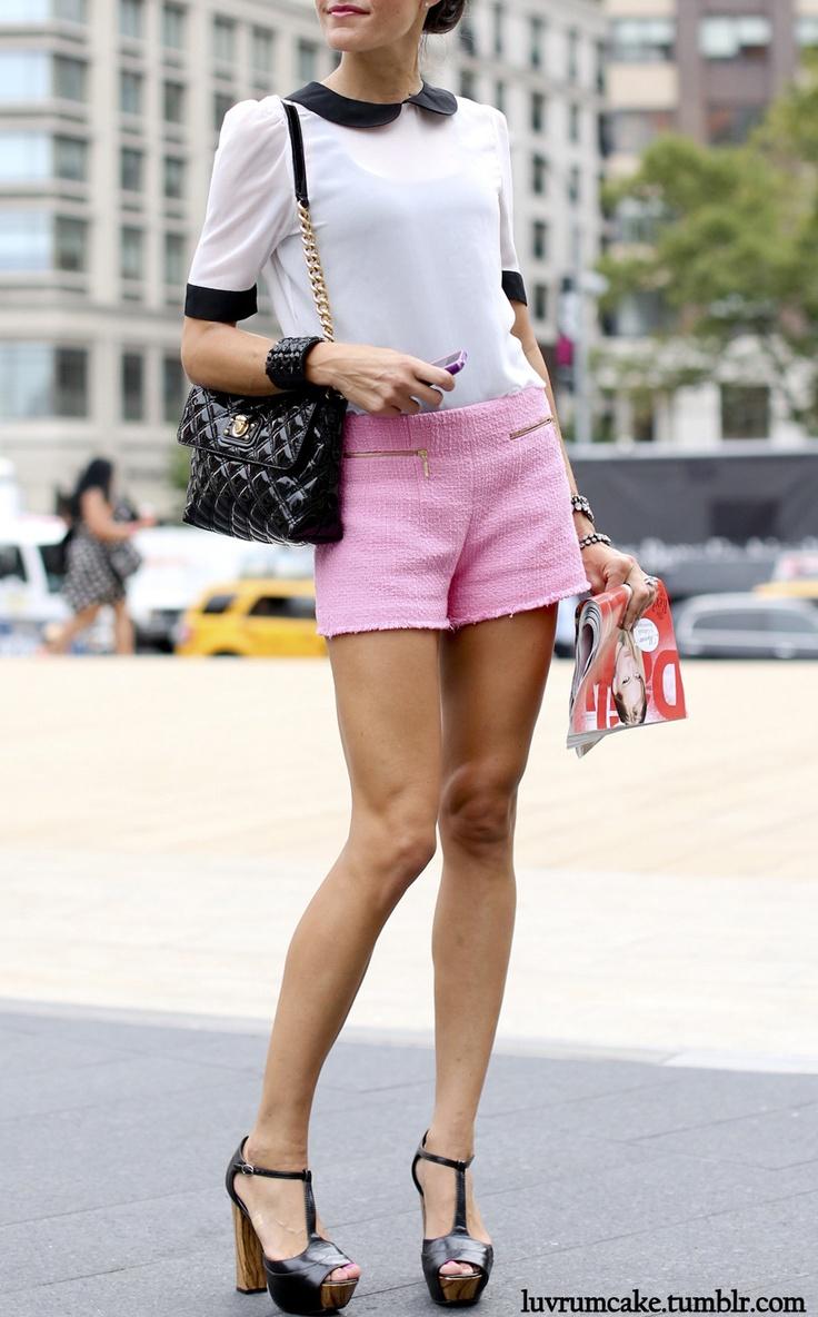 Ann Taylor blouse + pink dress shorts + t straps