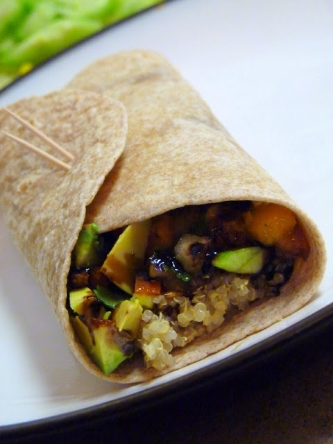 Black Bean Wraps with Chunky Mango Salsa and balsamic reduction.