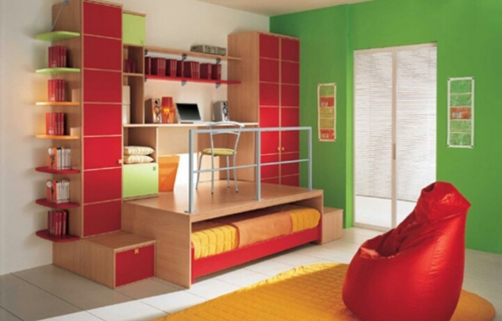 Twin bed design as a pull out for space small room for Double bed designs for small spaces