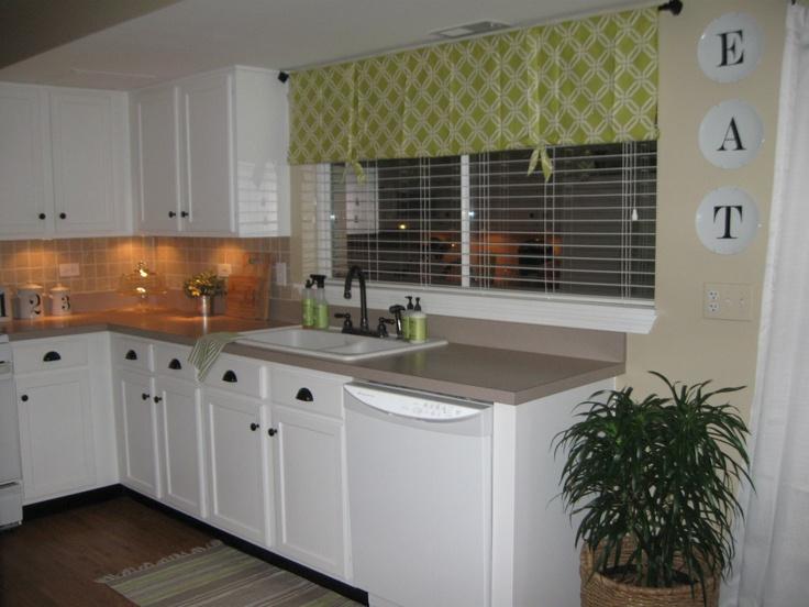 My homemade kitchen window treatment my house pinterest - Pinterest kitchen window treatments ...