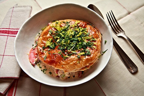 Lobster pot pie...just have to drive to Maine to get the lobsters ...