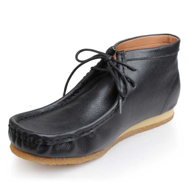 leather sailing shoe thick soles lace up boat shoe women