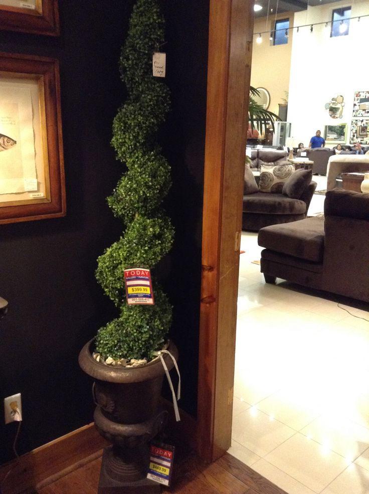 Silk spiral boxwood in an urn this will add some greenery for I furniture houston