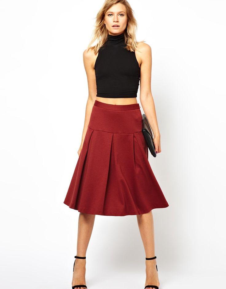 asos midi skirt with drop waist and pleats crop top