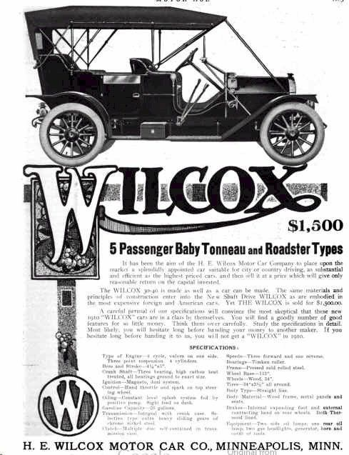 1910 Wilcox Automobile Advertisement