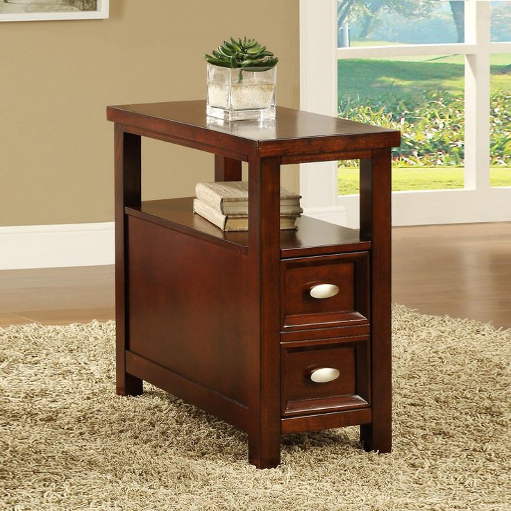 Best Cherry Finish Wooden End Table And Drawer 400 x 300