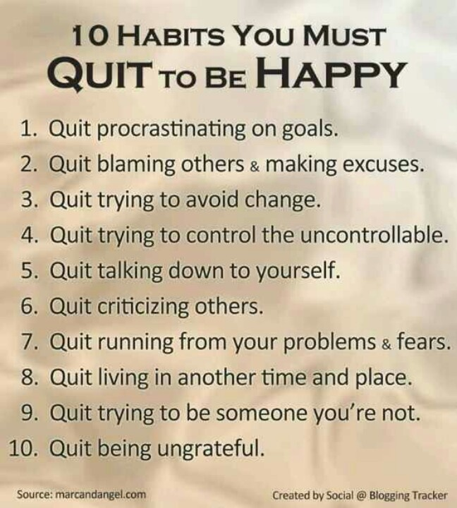10 Habits You Must Quit to be Happy