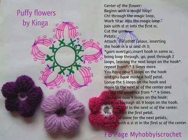 Crochet Flower Puff Pattern : Crochet Puff Flower to crochet... someday Pinterest