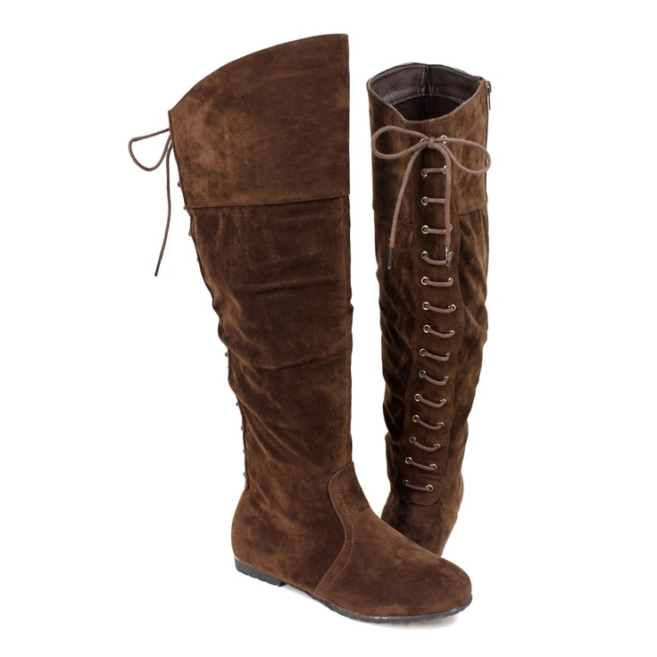 Women s knee high lace up back suede flat boots brown size 5 5 10