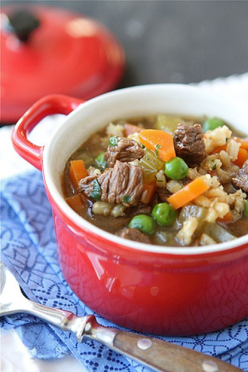 Lean Bison & Barley Soup With Green Peas Recipe — Dishmaps