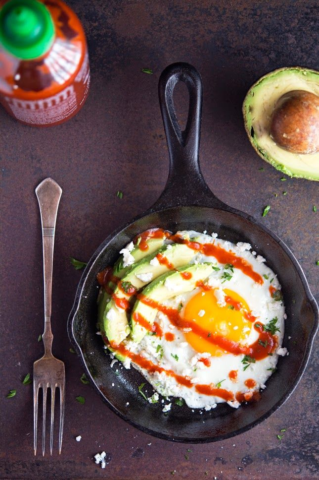 Sunny-Side Up Egg with Avocado, Sriracha and Crumbled Feta