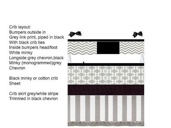 Custom crib bedding 6 pc set kylar
