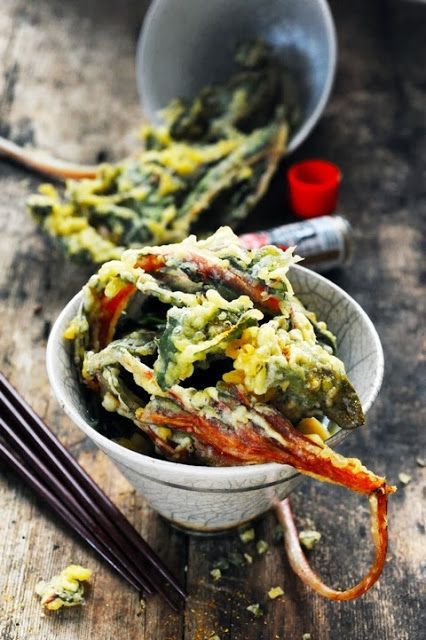 Stock, soba noodles and red Swiss chard tempura - Recipe in English...