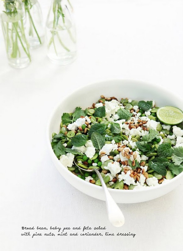 Bread bean, baby pea and feta salad, with pine nuts, mint and ...
