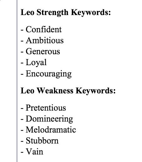 Leo Strengths and Weaknesses