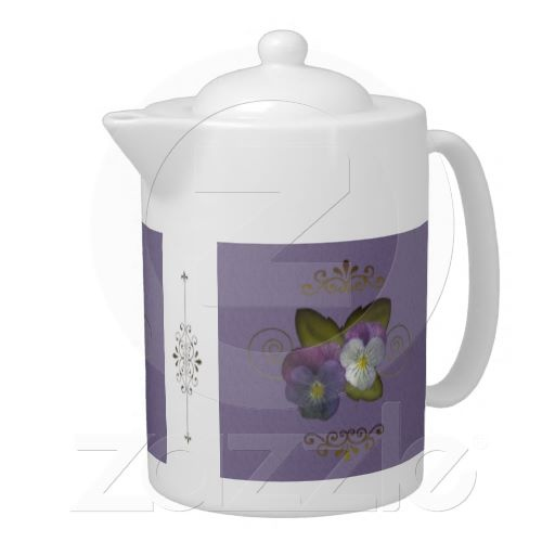Pretty Purple Pansies Teapot