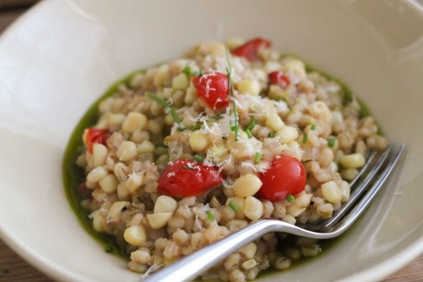 Barley Risotto with Corn, Cherry Tomatoes, and Basil Oil
