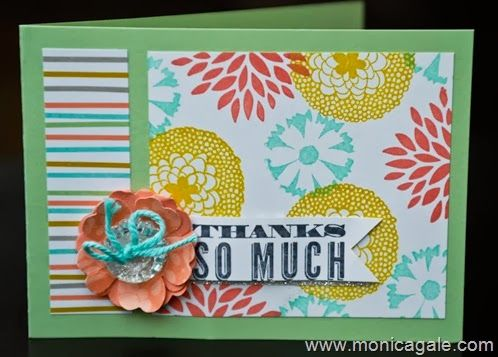 She made the DSP with Petal Parade stamps and ink to match some SU paper sets. pool party, summer starfruit and