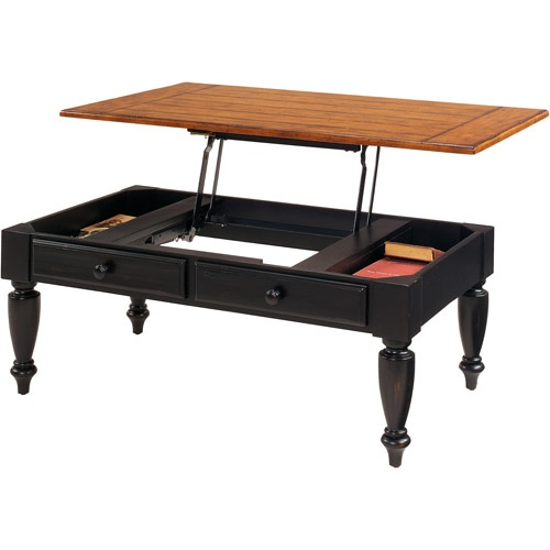 Country Vista Lift Top Coffee Table Antique Black And Oak