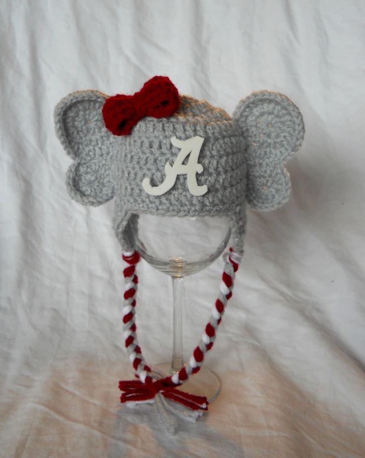 Crochet Patterns Alabama Football : +Of+Alabama+Elephant+Hat Girls Crochet University of Alabama ...