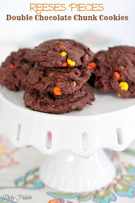 Reeses Pieces Double Chocolate Chunk Cookies by Picky Palate. These ...