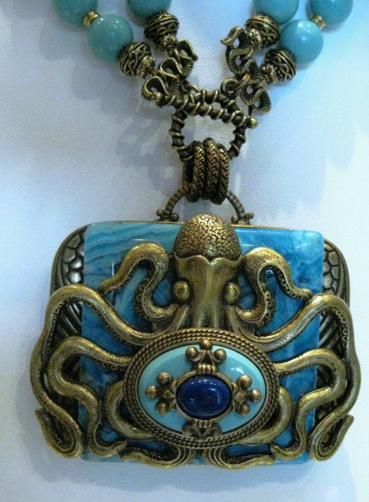 Patrice octopus necklace. Crazy lace agate, synthetic turquoise, Bavarian glass with antiqued glass and French bronze.