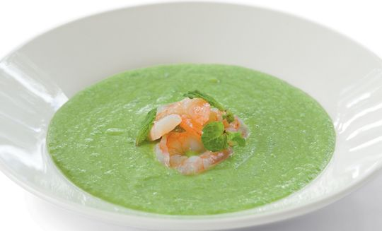 Pea and prawn soup. Perfect for using up freezer contents