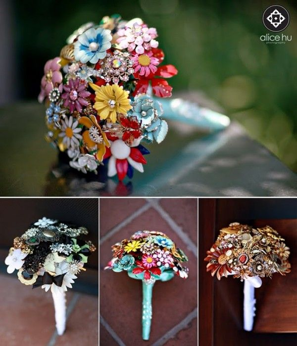 Wedding bouquet made out of vintage brooches.