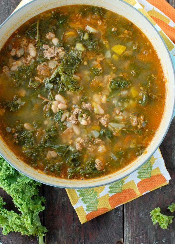 Peppery Sausage White Bean Kale Soup. | Good food | Pinterest
