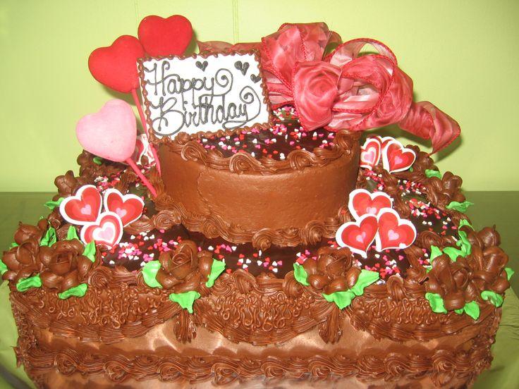 Valentines themed birthday cake.  Birthday Cakes  Pinterest