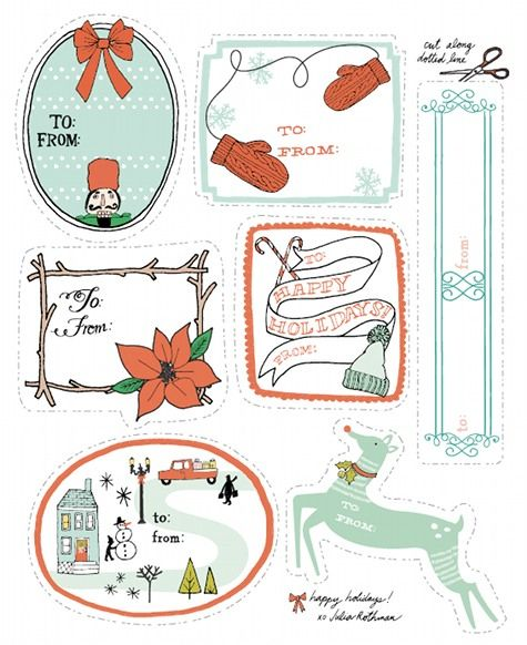 Love these free printable Charlotte Rothman gift tags at Design Sponge.