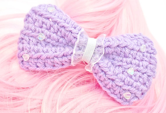 Crochet Hair Bows : Crochet Hair Bow Clip Lavender Crochet Pinterest