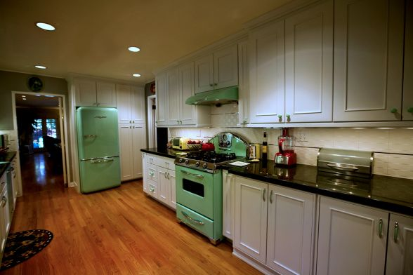 galley kitchen mint green with 1950s modern retro flare modern retro