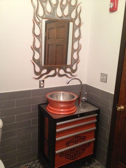 Harley davidson bathroom decor