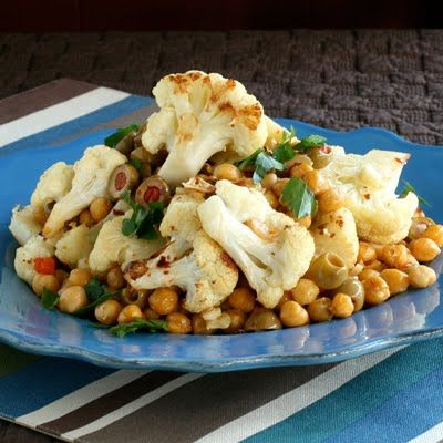 Roasted Cauliflower with Chickpeas and Olives