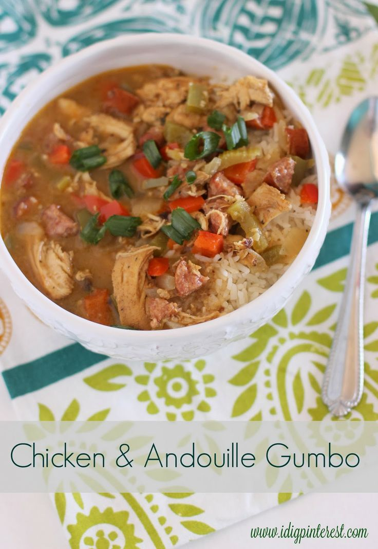 Dig Pinterest: Chicken & Andouille Gumbo with a healthier Roux