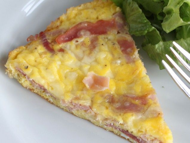 Ham and Cheese frittata with greens: green leaf lettuce, chickpeas ...