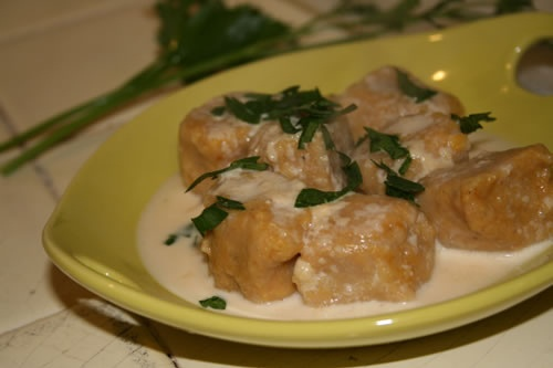 Pumpkin Gnocchi, make with a sage-butter sauce instead of the cream