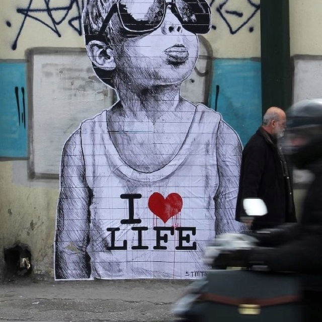 """""""I <3 Life"""" in Athens, Greece."""