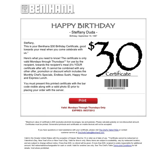 Benihana birthday coupon printable