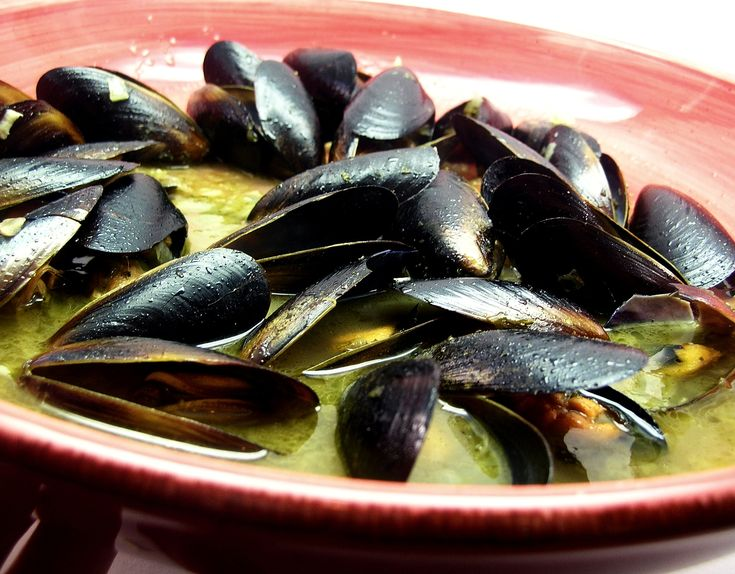 Mussels in Garlic White Wine Sauce | Seafood | Pinterest