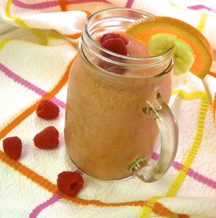 Raspberry-OJ-Banana Smoothie is a great way to start the day!