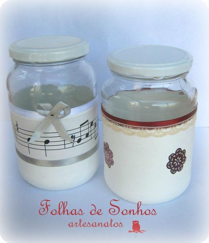 Reciclagem / Crafts - potes de vidro reciclados e decorados