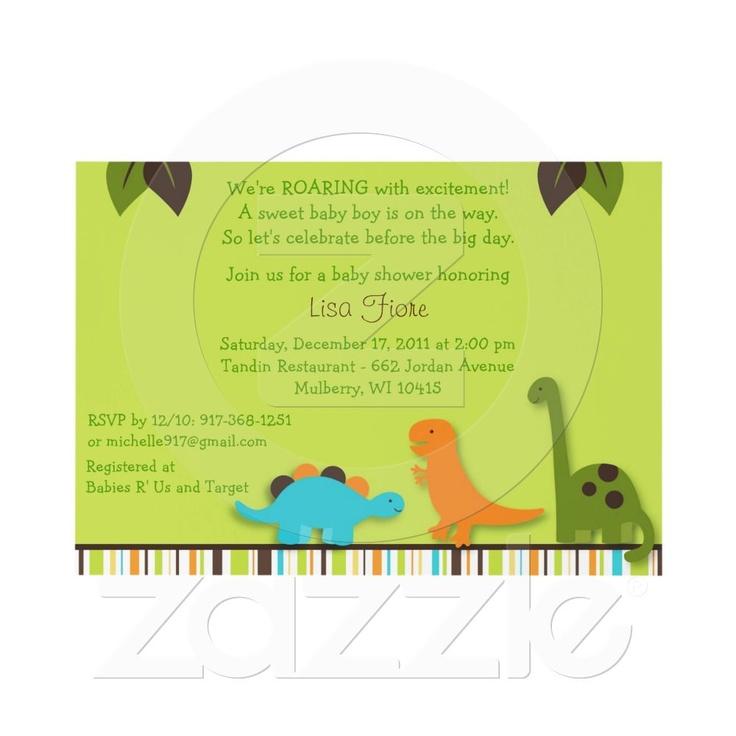 lil dino dinosaur boys baby shower invitation from